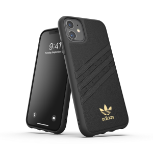 3-Stripes Leather Snap Case for iPhone 11 black
