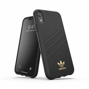 3-Stripes Leather Snap Case Black iPhone